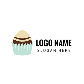 Blue and Brown Chocolate Cake logo design