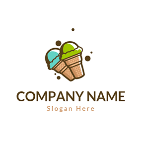 Blue and Green Ice Cream Cone logo design