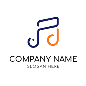 Blue and Orange Note logo design
