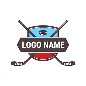 Blue and Red Hockey Badge logo design