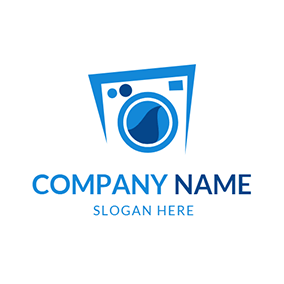 Blue and White Dry Washer logo design
