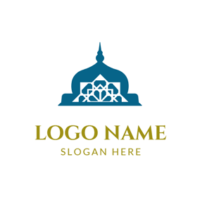 Blue and White Mosque logo design
