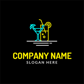 Blue and Yellow Cocktail logo design