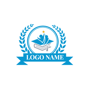 Blue Badge and Gray Book logo design