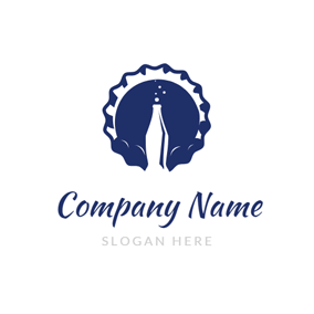 Blue Bottle Cap and Soda logo design