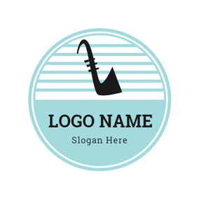 Blue Circle and Black Saxophone logo design