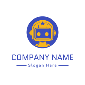 Blue Circle and Brown Toy Robot logo design
