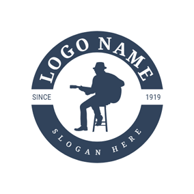 Blue Circle and Guitar Singer logo design