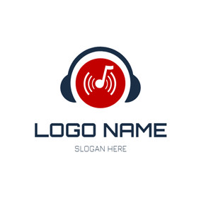 Blue Earphone and CD logo design