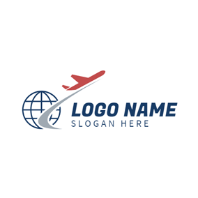 Blue Earth and Red Airplane logo design