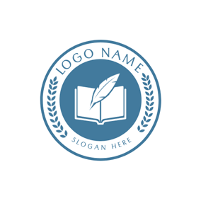 Blue Encircled Book and Feather Pen logo design
