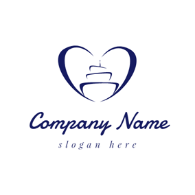 Blue Heart and Birthday Cake logo design