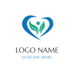 Blue Heart and Green Sprout logo design