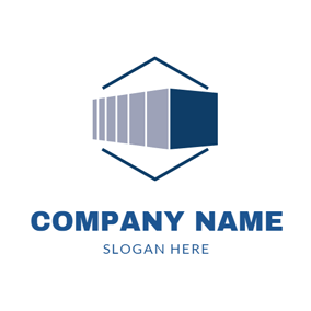 Blue Hexagon and 3D Container logo design