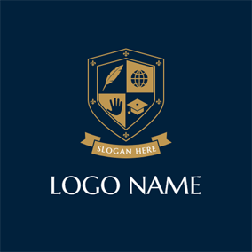 Blue Shield and Banner Emblem logo design