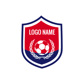 Blue Shield and Red Soccer logo design
