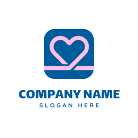 Blue Square and Pink Heart logo design
