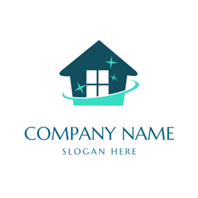 Blue Star and Cleaning House logo design