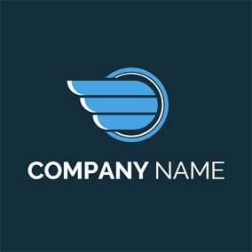 Blue Wing and Circle logo design
