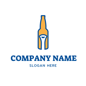 Bottle Opener and Beer Bottle logo design