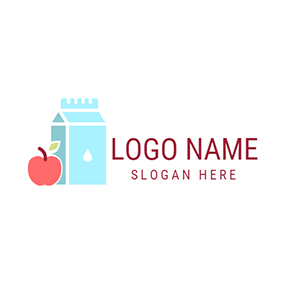 Bottled Milk and Red Apple logo design