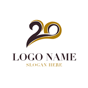 Brown and Black 20th Anniversary logo design