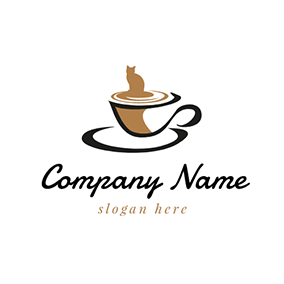 Brown and Black Hot Coffee logo design