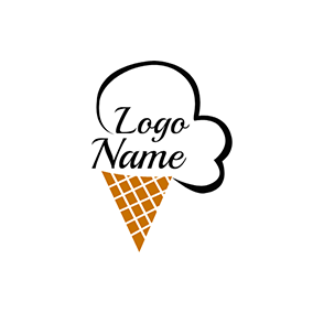 Brown and Chocolate Ice Cream Cone logo design