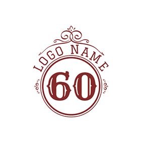 Brown and White 60th Anniversary logo design