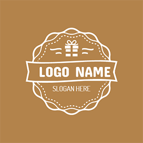 Brown and White Birthday Present logo design