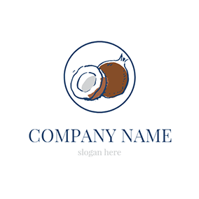 Brown and White Coconut logo design
