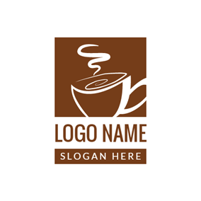 Brown and White Coffee Cup logo design