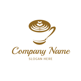 Brown and White Coffee logo design