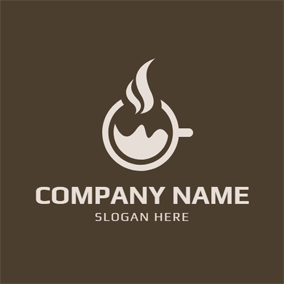 Brown and White Fumy Coffee Cup logo design