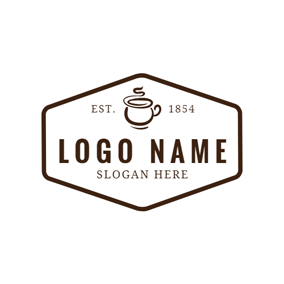 Brown and White Fumy Coffee logo design