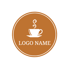 Brown and White Hot Coffee logo design