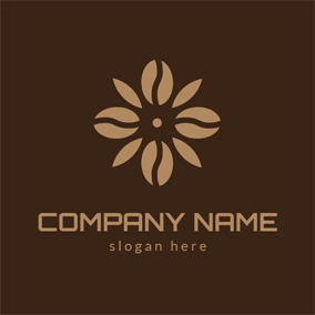 Brown and Yellow Flower logo design