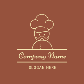 Brown and Yellow Old Chef logo design