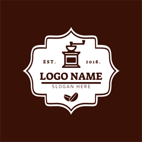 Brown Badge and Coffee Maker logo design