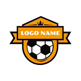 Brown Badge and White Football logo design