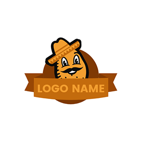 Brown Banner and Potato logo design