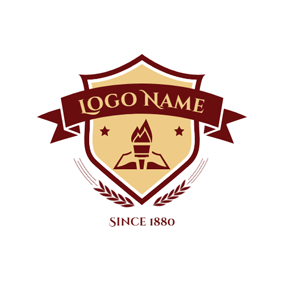 Brown Banner and Wheat Emblem logo design