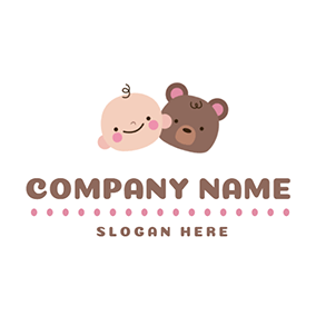 Brown Bear and Cute Baby logo design
