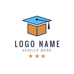 Brown Book and Blue Mortarboard logo design