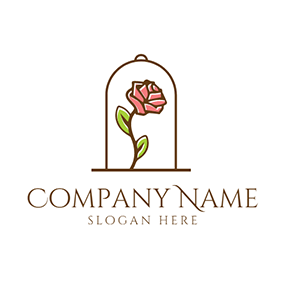 Brown Branch and Red Rose logo design