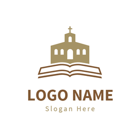 Brown Church and White Book logo design