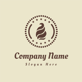 Brown Circle and Abstract Ice Cream logo design