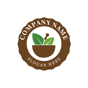 Brown Circle and Herbal Medicine logo design