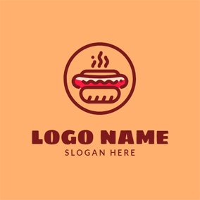 Brown Circle and Hot Dog logo design
