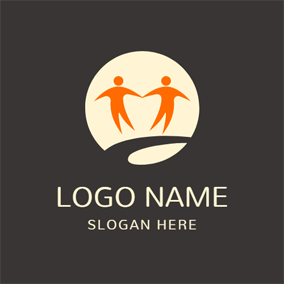 Brown Circle and Outlined People logo design